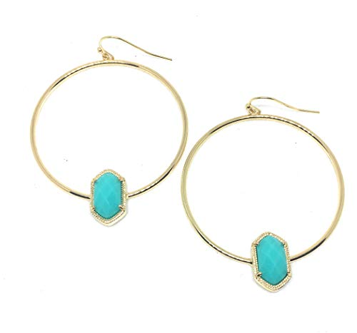 Inspired Fashion Jewelry Trendy Hoop Earrings in Candy Color Aqua in Silver or Gold Tone (Gold Metal Tone)