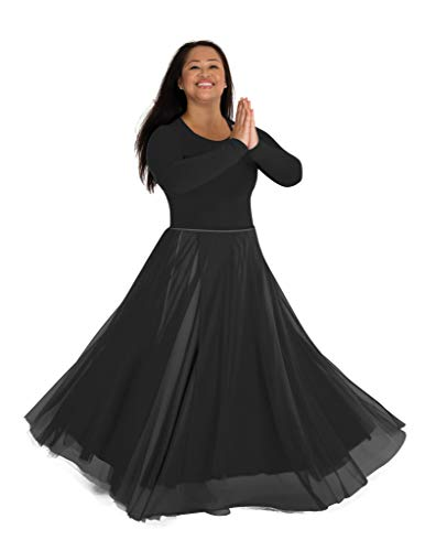 Eurotard Pull On Skirt - Body Wrappers Adult Long Full Chiffon Skirt (Black, S/M) - 538