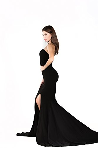 Miss ord Strapless Asymmetric Slit Front Wedding Evening Party Maxi Dress