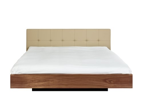 Temahome Float Bed with Upholstered Headboard and Mattress Support, King, Beige Leather and Walnut