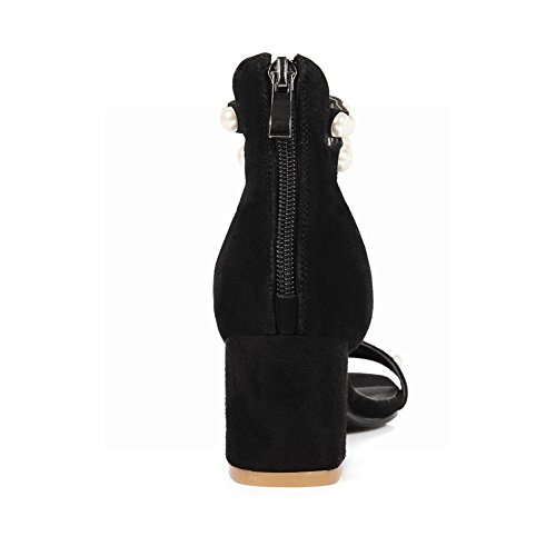 Carolbar Mujeres Studded Beads Tobillo Correa Zip Open Toe Moda Chunky Mid Heel Dress Sandalias Negro
