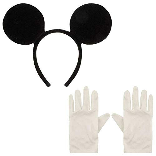 My Choice Stuff Mouse Ears Headband White Gloves Set Mens Womens Fancy Party Wear Stag Do Costume (Mouse Ears Headband and White Gloves) One Size