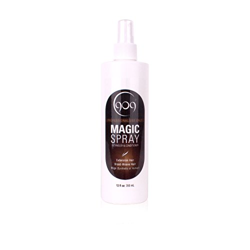 909 Detangler Magic Spray, Aloe Vera Infused Leave-In Conditioner for 100% Remy Human Hair Extensions and Wigs (12 oz)