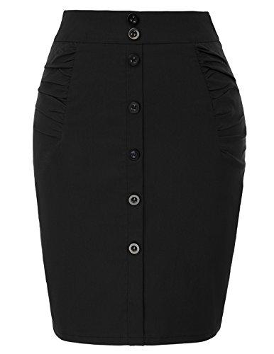 Kate Kasin Womens Knee Pencil Skirt Stretchy Business Skirt Size S Black KK1108-1 by Kate Kasin