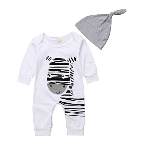 Imcute Toddler Baby Boys Girls Zebra Outfit Long Sleeve Bodysuit Romper with Hat for Everyday Wear Play (6-9 Months, -