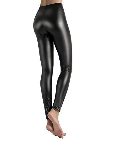 CALZITALY Leggings en Simil Cuir avec Tissu en Polaire Thermique | Noir | XS, S, M, L, XL | Made in Italy