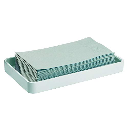 - mDesign Modern Decorative Metal Guest Hand Towel Storage Organizer Tray Dispenser, Sturdy Holder for Disposable Paper Napkins - Bathroom Vanity Countertop Organization - Mint Green