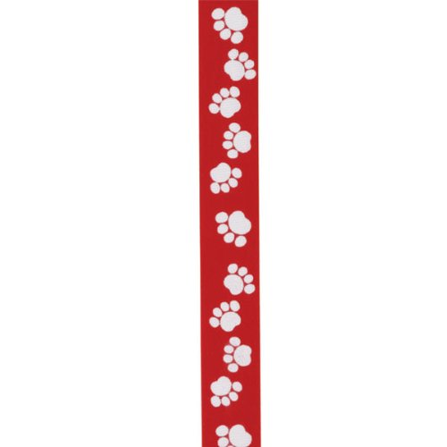 Top Performance Pawprint Satin Ribbon, 25 Yards, White/Red