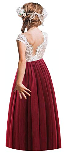 (2Bunnies Girl Rose Lace Back A-Line Straight Tutu Tulle Party Flower Girl Dresses (Burgundy Sleeveless Maxi,)