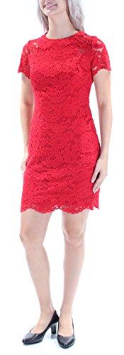 Lauren by Ralph Lauren Womens Petites Lace Cap Sleeves Casual Dress Red 4P (Lauren Lace Ralph Spring)