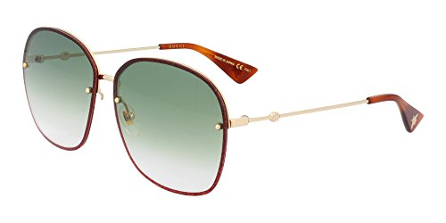Gucci GG 0228S 001 Gold Metal Oval Sunglasses Green Gradient - Gucci Frame Metal Sunglasses
