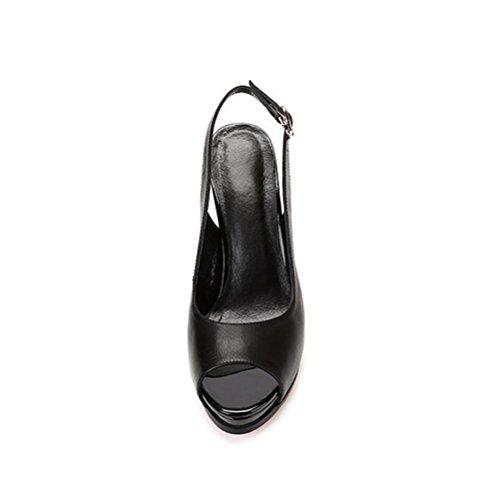 Plataforma gruesa Boca white para moda metal de genuino Zapatos mujer Negro cinturón de Rosa boca alto Blanco de poco de de de HIGHXE de Impermeable tacón profunda Hebilla BLACK pescado cuero Sandalias 35 UxqAtadvw