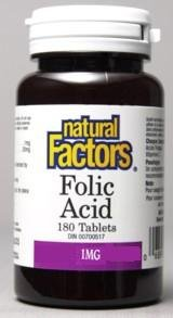 Folic Acid 1mg (180Tablets) Brand: Natural Factors
