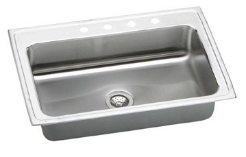 """Gourmet 33"""" x 22"""" Kitchen Sink Faucet Drillings: 1 Hole"""