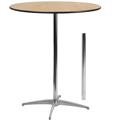 Great Bar Table 30'' Round Wood Cocktail Table with 30'' and 42'' Columns - Bistro Table 36' Glass Pub Table