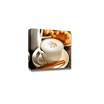Canvas Prints Wall Art - a Cup of Cappuccino and Croissant | Modern Wall Decor/Home Art Stretched Gallery Canvas Wraps Giclee Print & Ready to Hang - 32