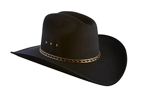 - Faux Felt Wide Brim Western Cowboy Hat Elastic Band-Black-L/XL