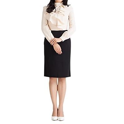 CHARLES RICHARDS CR Women's High Waist Knee Length Pencil Midi Skirt Slim Fit Business Skirt at Women's Clothing store