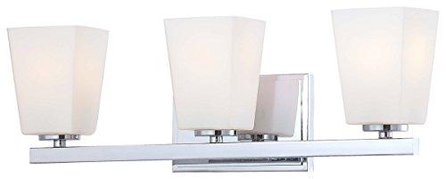 Minka Lavery Wall Light Fixtures 6543-77 City Square Reversible Glass Bath Vanity Lighting, 3 Light, 300 Watts, ()