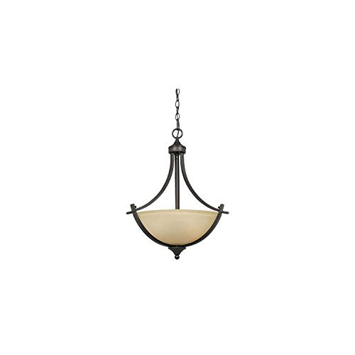 Lumenno Lighting 8000-02-20 Pendant with Tea Stained Glass Shades, Bronze Finish by Lumenno