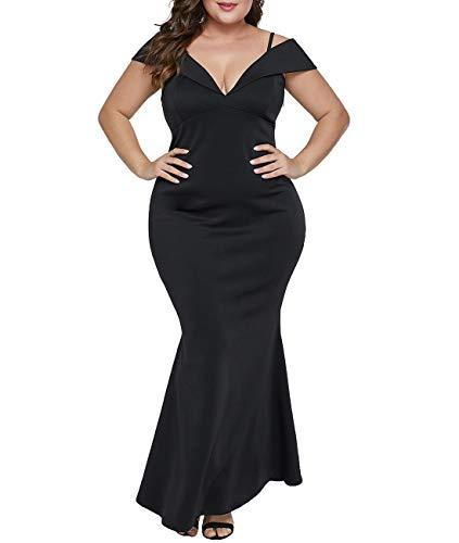 930ce6ea7f3 Lalagen Womens Plus Size Off Shoulder V Neck Long Evening Party Maxi Dress