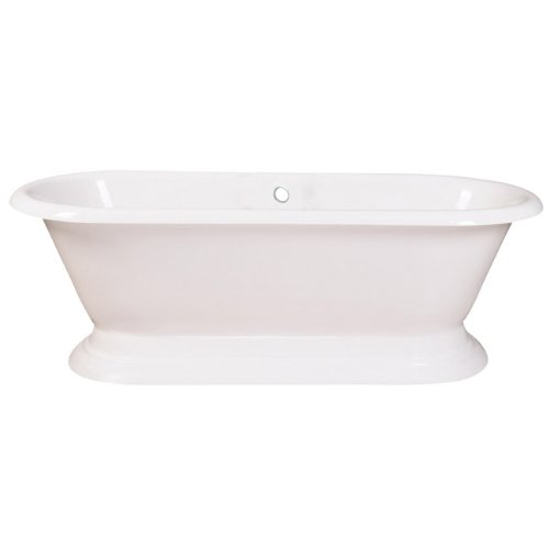 Eden VCTND723224 Cast Iron Double Ended Pedestal Bathtub without Faucet Drillings, 72-Inch, White (Double Ended Bathtub)