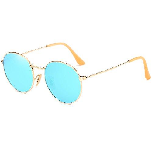 Dollger Lennon Style Vintage Circle Hippie Sunglasses with Polarized Lens (Blue Mirror Lens+Gold Frame, Premium Polarized - Sunglasses Reflective