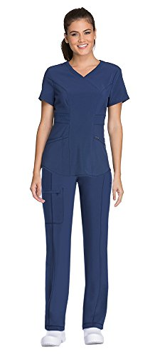 CHEROKEE Infinity Women's V-Neck Scrub Top with Certainty CK623A & Low Rise Drawstring Scrub Pants 1123A Medical Scrub Set (Navy – XX-Large/XXL Tall)