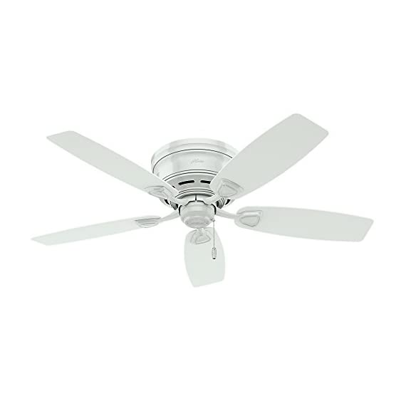 "Hunter Fan Company 53119 Etl Damp Listed, Ceiling Fan with Five White Plastic Blades, 48"", 1 WhisperWind motor delivers ultra-powerful air movement with whisper-quiet performance so you get the cooling power you want without the noise you don't Reversible motor allows you to change the direction of your fan from downdraft mode during the summer to updraft mode during the winter ETL Damp-rated for use in covered porches, patios and sunrooms, Low Profile housing is specially designed to fit flush to the ceiling and is ideal for use in rooms with low ceilings"
