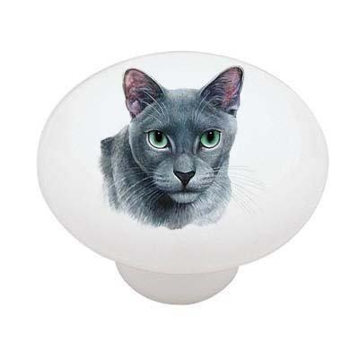 Russian Blue Cat Decorative High Gloss Ceramic Drawer Knob