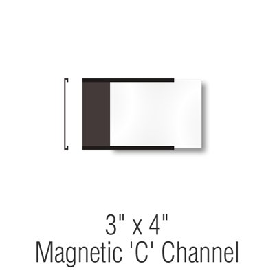 Magnetic ''C'' Channel Label Holders, 3''x4'',, Label Holder,Magnetic''C''Channel , 25 Holders / Pack
