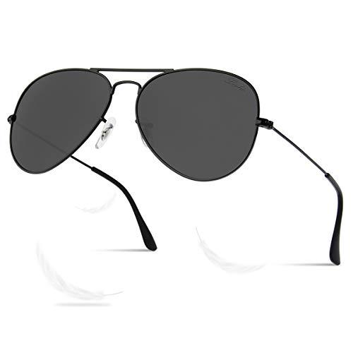 LIVHO Classic Aviator Sunglasses for Women Men Polarized,Metal Frame Mirror UV Lens Protection(Black Grey, ()