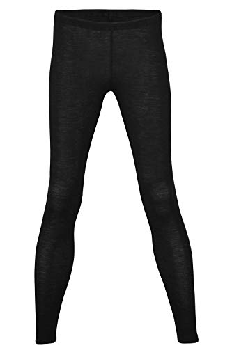 (EcoAble Apparel Women's Thermal Leggings Pants Base Layer, Organic Merino Wool Silk Blend (46-48 / Large, Black))