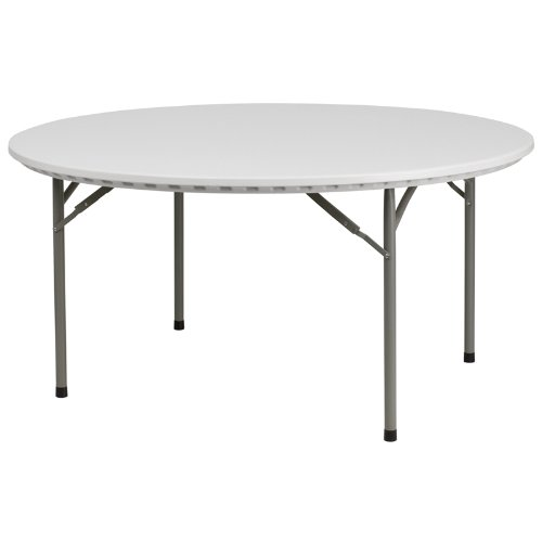 Flash Furniture 60'' Round Granite White Plastic Folding Table by Flash Furniture
