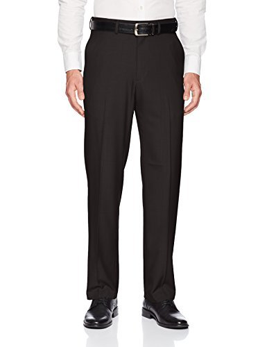 Haggar Men's Premium Comfort Classic Fit Flat Front Expandable Waist Pant, Black, 36Wx32L