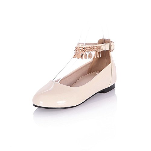 Leather Flats Inside BalaMasa Womens Mary Heighten Buckle Beige Jane Patent Solid n11YwqAFB