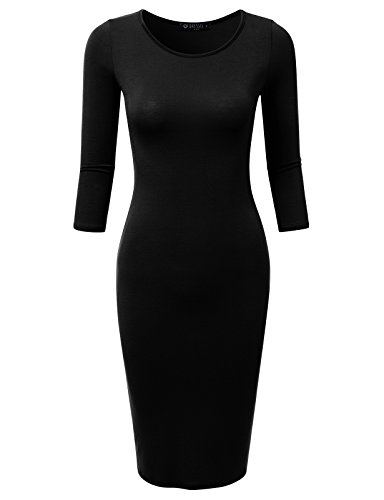 Buy black 3/4 length sleeve bodycon dress - 7
