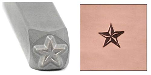 Beaducation Nautical Star Metal Design Stamp, 5mm Pinup Vintage Tattoo Style Punch Stamping Tool Hand Stamped DIY Jewelry Crafts Original Metal Design Stamps