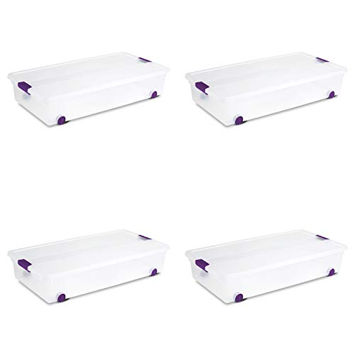 Sterilite 17611704 60 Quart/57 Liter ClearView Latch Wheeled Underbed Box, Clear Lid and Base with Sweet Plum Latches and Wheels, 4-Pack
