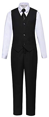 Visaccy Kids Boys Formal Wear Black Toddler Vest and Pants Set Size 5