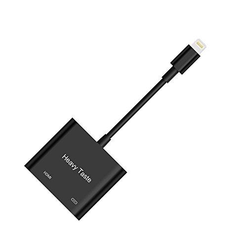 Lightning To HDMI Adapter, Lightning Digital AV Adapter with Power Supply Port For iPhone/iPad/iPod Models, 1080P HD, Support iOS 11 and Before,No APP Needed (Black) Hdmi Digital Av