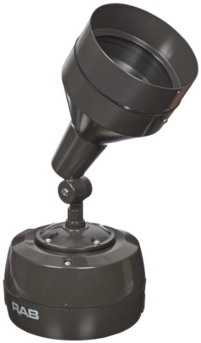 RAB Lighting H1HH70HQTA H1 Metal Halide HID Floodlight with Hood, PAR38 MH Type, Aluminum, 70W Power, 4800 Lumens, 120/208/240/277V, Bronze Color