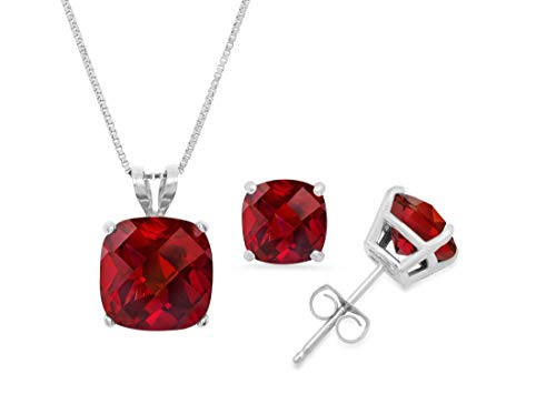 14k White Gold Cushion-Checkerboard-Cut Garnet Pendant Necklace & Stud Earring Boxed Set, 18