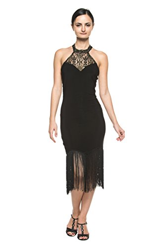 Women High Neck Lace Black Fringe 20s Flapper Dance Evening Cocktail Party Dress (Medium)