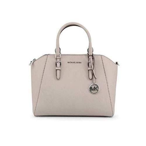 Michael Kors Large Ciara Top Zip Womens Saffiano Leather Satchel (Pearl Grey)