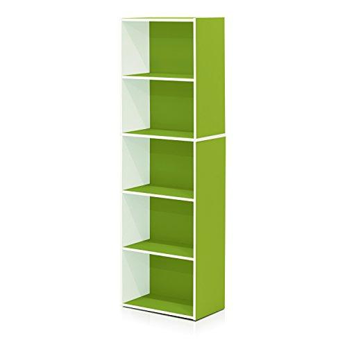 Furinno 5-Tier Reversible Color Open Shelf Bookcase , White/Green - Book Case Color