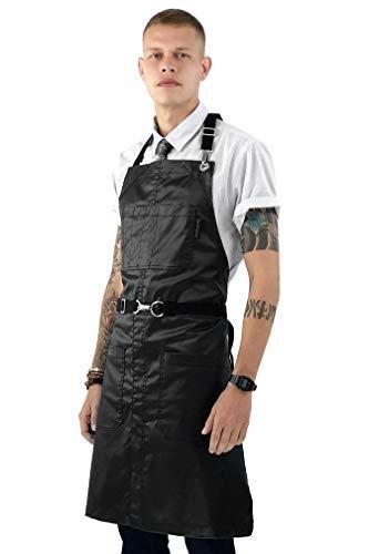 (Under NY Sky No-Tie Black Apron – Coated Twill, Leather Reinforcement, Chrome Hardware, Split-Leg, Adjustable for Men and Women – Pro Barber, Tattoo, Barista, Bartender, Hair Stylist, Server Aprons)