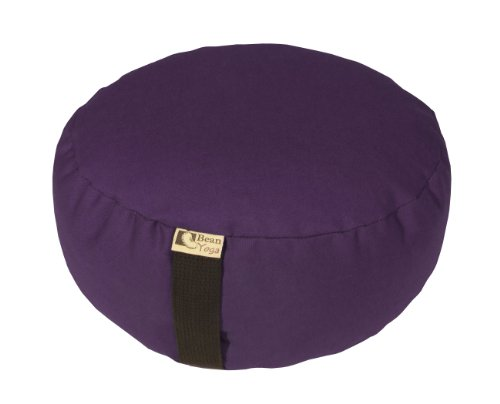PURPLE - Round Zafu Meditation Cushion - Yoga - 10oz Cotton - Organic Buckwheat Fill - Made in USA