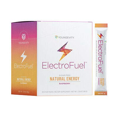 M Stiks Youngevity ElectroFuel Natural Energy Drink Mix - Single Serving Stiks - 30 Count - Raspberry