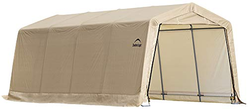 - ShelterLogic 10' x 20' x 8' All-Steel Metal Frame Peak Style Roof Instant Garage and AutoShelter with Waterproof and UV-Treated Ripstop Cover